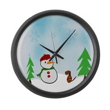 Snowman With His Dog Large Wall Clock