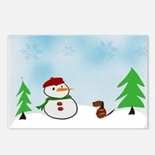 Snowman With His Dog Postcards (Package of 8)