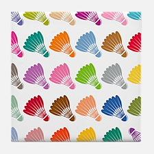 Colorful BadmintonShuttles Tile Coaster