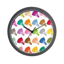 Colorful BadmintonShuttles Wall Clock