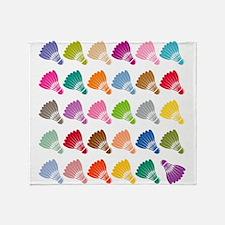 Colorful BadmintonShuttles Throw Blanket