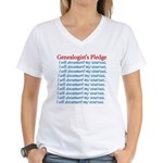 Genealogist's Pledge Women's V-Neck T-Shirt