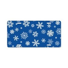 Snowflakes Blue Background Aluminum License Plate