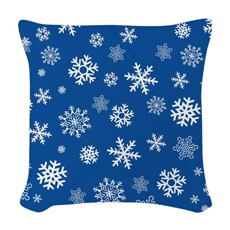 Snowflakes Blue Background Woven Throw Pillow by ZuzusFunHouse
