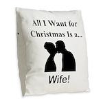 Christmas Wife Burlap Throw Pillow