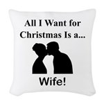 Christmas Wife Woven Throw Pillow