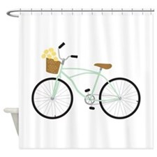 Bicycle Flower Basket Shower Curtain