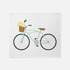 Bicycle Flower Basket Throw Blanket