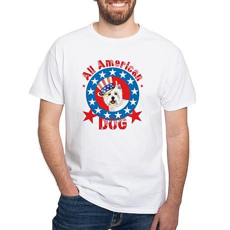Patriotic Westie White T-Shirt
