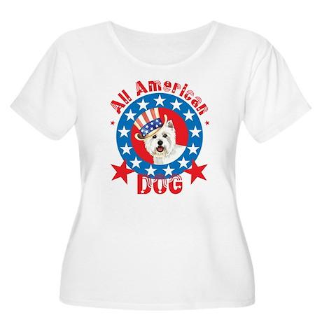 Patriotic Westie Women's Plus Size Scoop Neck T-Sh
