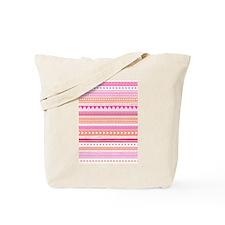 Peach Pink Tribal Geometric Vintage Stri Tote Bag