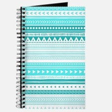 Teal Blue Tribal Geometric Vintage Stripes Journal