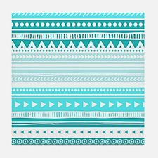 Teal Blue Tribal Geometric Vintage St Tile Coaster