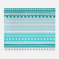 Teal Blue Tribal Geometric Vintage S Throw Blanket