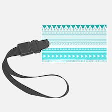 Teal Blue Tribal Geometric Vinta Luggage Tag