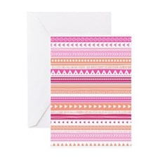 Peach Pink Tribal Geometric Vintage Greeting Card