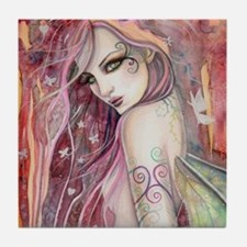 The Shy Flirt Fairy Art Tile Coaster
