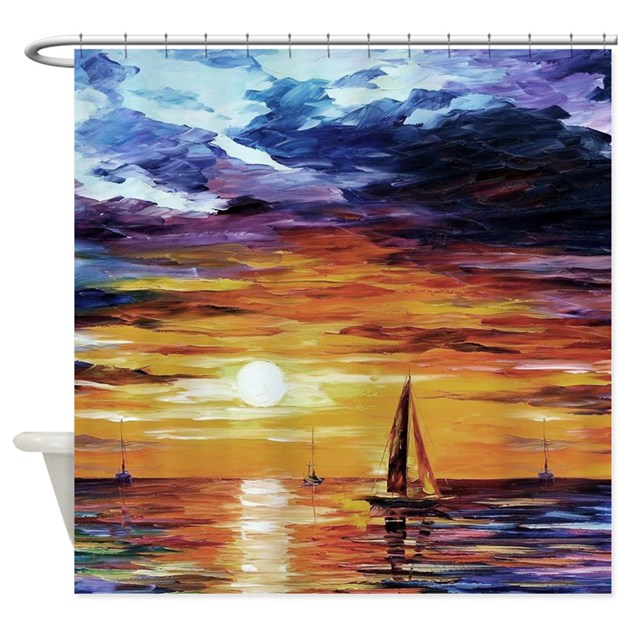 Sunset Over The Ocean Painting Shower Curtain By