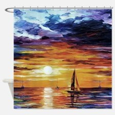 Sunset Over The Ocean Painting - Shower Curtain