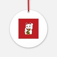 White Maneki Neko Ornament (Round)