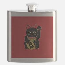 Black Maneki Neko Flask