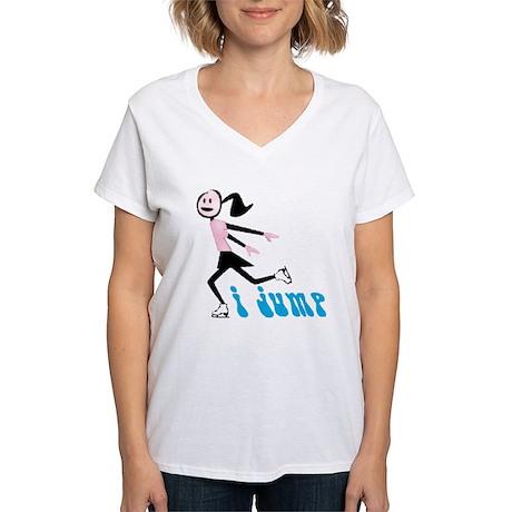 i spin, i jump Ice Skating Women's V-Neck T-Shirt