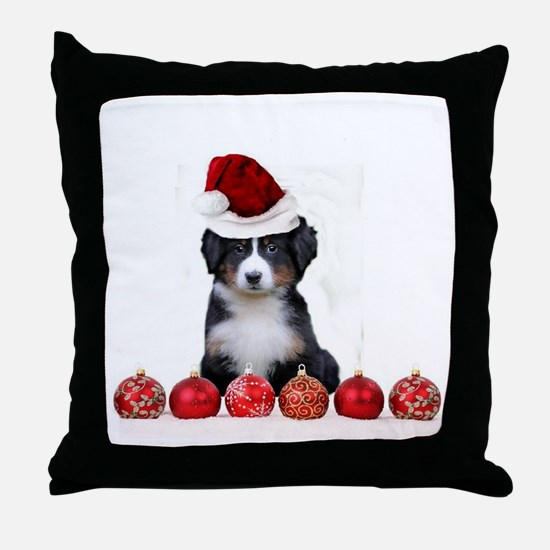 Christmas Bernese Mountain Dog Throw Pillow