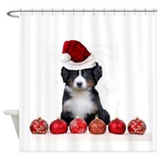 Christmas Bernese Mountain Dog Shower Curtain