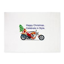 HAPPY CHRISTMAS MOTORCYCLE 5'x7'Area Rug