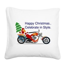 HAPPY CHRISTMAS MOTORCYCLE Square Canvas Pillow
