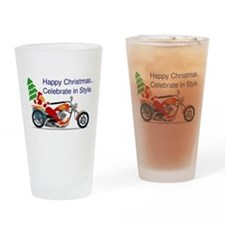 HAPPY CHRISTMAS MOTORCYCLE Drinking Glass