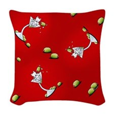 KiniArt Westie Martini Woven Throw Pillow