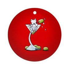 KiniArt Westie Martini Ornament (Round)