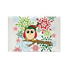 Cute Christmas owls Rectangle Magnet
