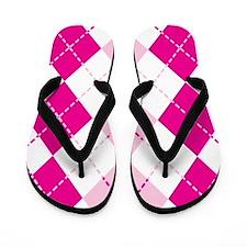 Pink Argyle Design Flip Flops