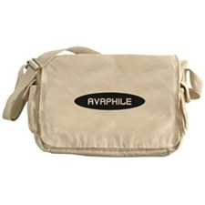 Avaphile White on Black Messenger Bag