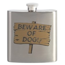 Beware Of Dog Sign Flask