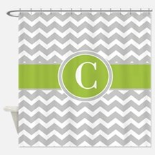 Gray Green Chevron Monogram Shower Curtain