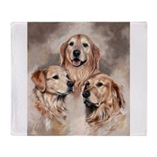 Golden Retrievers by Dawn Secord Throw Blanket