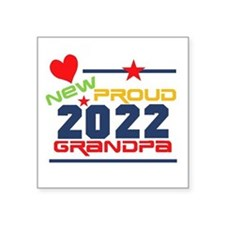 "2015 Proud New Grandpa Square Sticker 3"" x 3"""