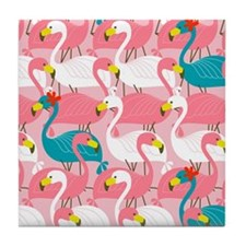 PINK AND BLUE FLAMINGOS Tile Coaster