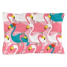 PINK AND BLUE FLAMINGOS Pillow Case