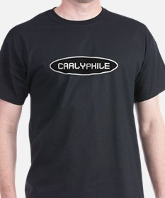 Carlyphile White on Black T-Shirt