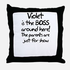 Violet is the Boss Throw Pillow
