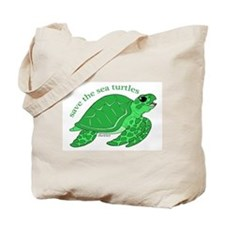 Green Turtle Tote Bag