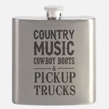 Country Music, Cowboy Boots & Pickup Trucks Flask