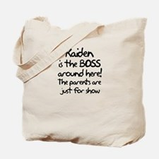 Kaiden is the Boss Tote Bag