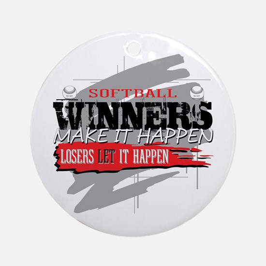 Winners and Losers Softball Ornament (Round)