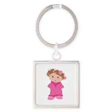 Woman In Curlers Keychains