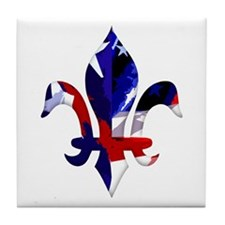 Red, white & blue Fleur de lis Tile Coaster